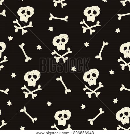 Halloween seamless pattern with human skulls, crossbones and stars. Black pirate design, vector illustration background.