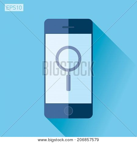 Smartphone in flat style, phone icon on color background. Search loupe, magnifying glass. vector design object. Vector design object for you project