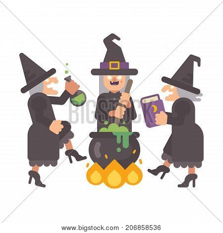 Three Wicked Old Witches Brewing A Potion. Three Evil Sisters Dancing Around The Fire And Cauldron.