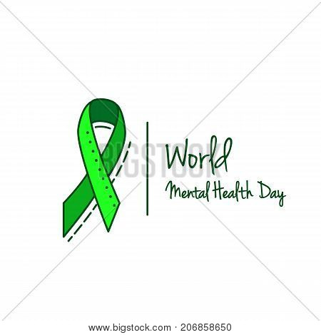 Mental health, hepatitis B and liver cancer or Non-Hodgkin lymphoma awareness Green Ribbon vector Background.