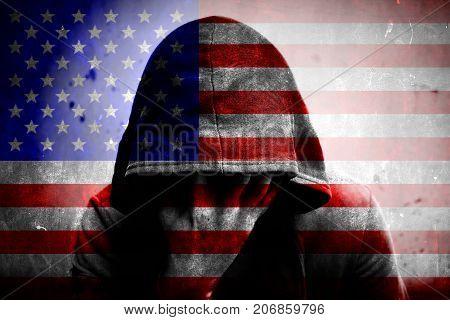 National flag USA symbol close up background.