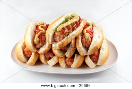 Plate Of Hotdogs