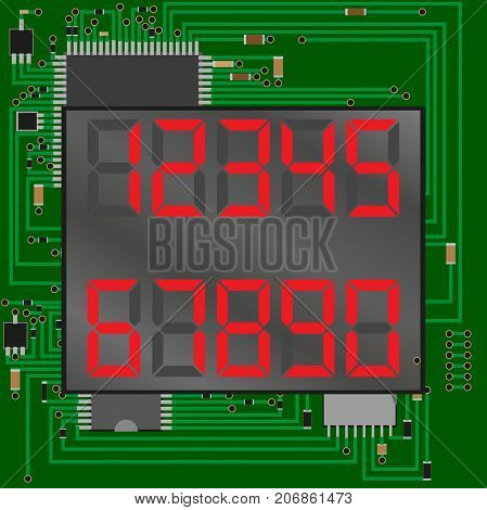 electronic figures red. The dial Microcircuit on a background. Number - 1, 2 3 4 5 6 7 8 9 0 vector