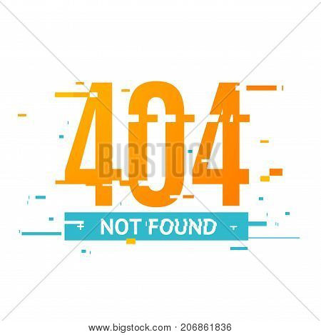 404 Not Found Internet Information Concept Glitch Style on a White Background Trendy Glitched Geometric Line Dynamic Element. Vector illustration
