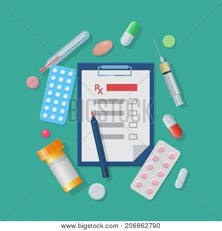 Medical supplies set cartoon style. Medical supplies set in cartoon style on a green background for designers and illustrators. Kit of an ambulance doctor in the form of a vector illustration