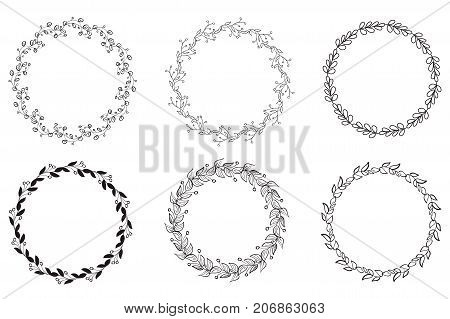 Set of Decorative Round Frame and Borders Art. Calligraphy Vector illustration EPS10.