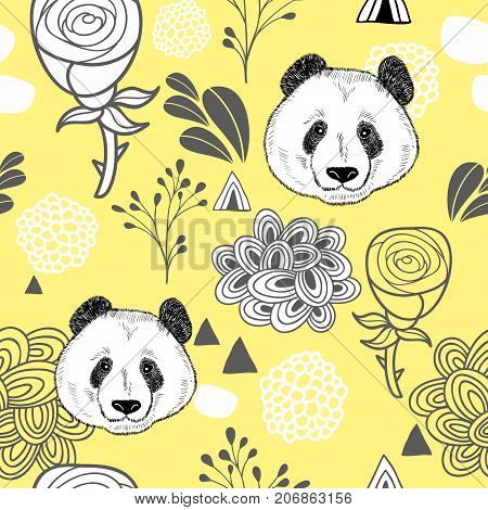 Colorful seamless pattern with cute panda. Endless background with flowers. Vector illustration for children and adults.