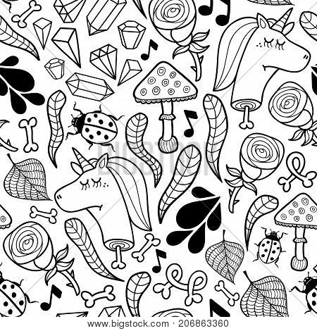 Seamless background unicorns and autumn plants. Vector wallpaper for coloring.