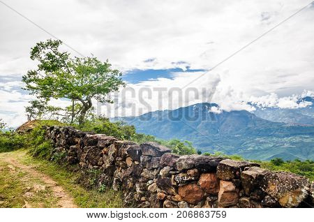 View on landscape of the Andes on Camino real by Barichara
