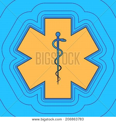 Medical symbol of the Emergency or Star of Life. Vector. Sand color icon with black contour and equidistant blue contours like field at sky blue background. Like waves on map - island in ocean or sea.