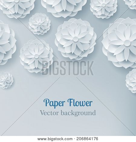 Card paper flower in a light background from above for designers and illustrators. Craftwork as a vector illustration