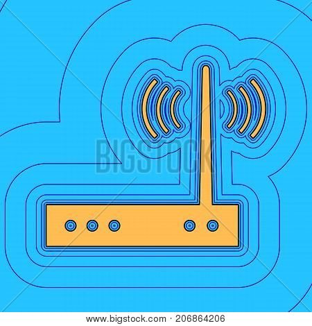 Wifi modem sign. Vector. Sand color icon with black contour and equidistant blue contours like field at sky blue background. Like waves on map - island in ocean or sea.