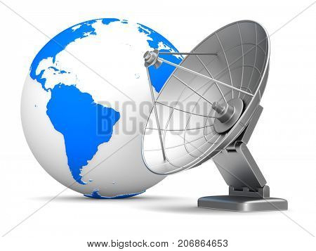 satellite aerial and globe on white background. Isolated 3D illustration