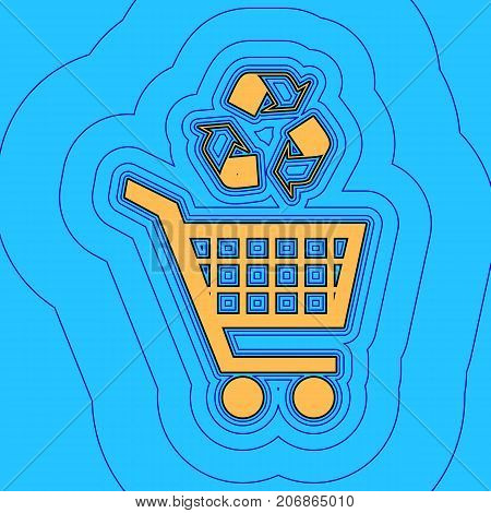 Shopping cart icon with a recycle sign. Vector. Sand color icon with black contour and equidistant blue contours like field at sky blue background. Like waves on map - island in ocean or sea.
