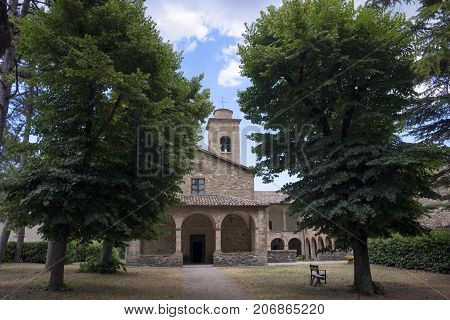 The medieval church (pieve) of San Giovanni Battista at Carpegna (Montefeltro Pesaro Urbino Marches Italy). Facade