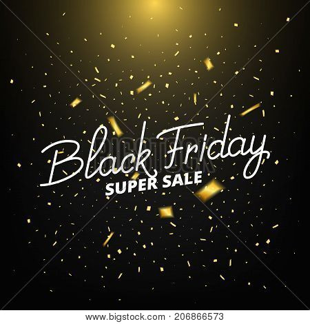 Black Friday. Banner with realistic gold confetti. Black Friday sale background.