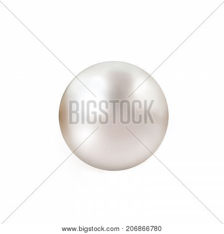 Pearl. Single lustrous pale pink pearl isolated on white background