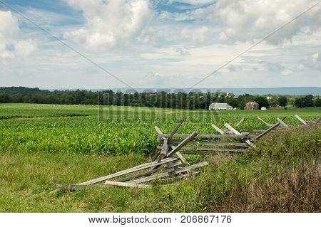A split rail fence at the Gettysburg National Battlefield.