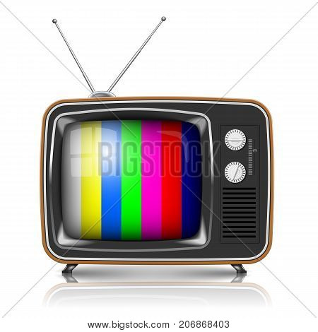 Vector Retro TV with color frame isolated on white