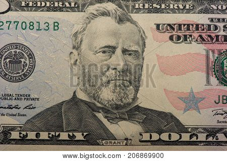 Ulysses Grant, portrait, 50 dollar bill close-up