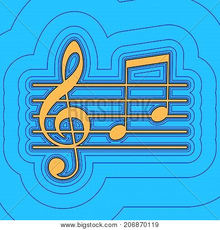 Music violin clef sign. G-clef and notes G, H. Vector. Sand color icon with black contour and equidistant blue contours like field at sky blue background. Like waves on map - island in ocean or sea.