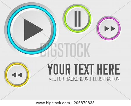 Music web elements with gray control round buttons and colorful edging on light background isolated vector illustration