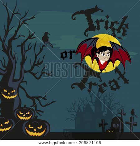 vampire bat flying on the full moon on cemetery with horror pumpkin and dracula castle, trick or treat background, baby vampire vector illustration.