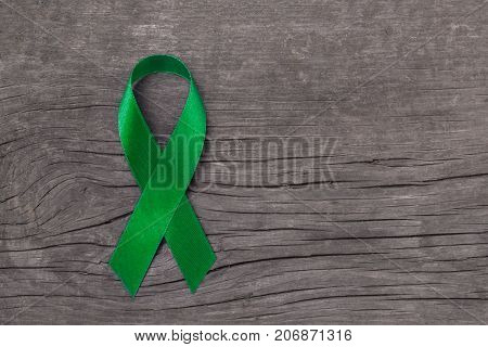 Lime Green ribbon for Lymphoma Cancer and mental health awareness raising support and help patient living with illness poster