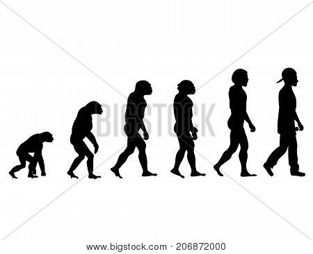 Evolution rapper silhouette on white background. Vector illustration