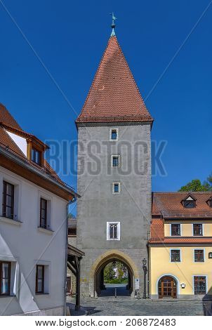 Vilstor gate tower dates back to the 14th century in Amberg Germany