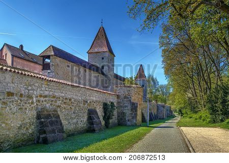 Historical city wall and garden in Amberg Germany
