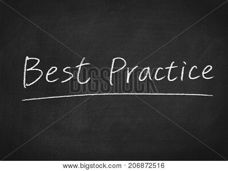 best practice concept words on a blackboard background