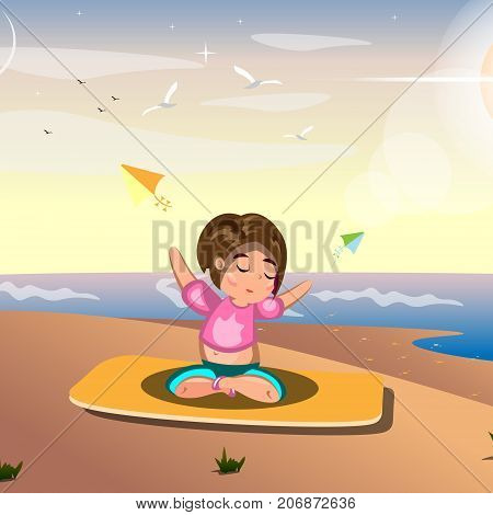 A woman practicing yoga on sea. Vector illustration
