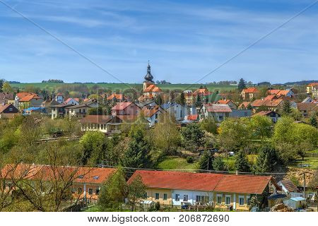 View of Kladruby town from Abbey of Kladruby Czech republic