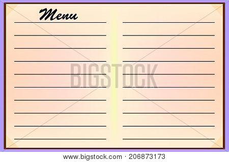 Menu for cafe-restaurants. Procurement, template for design. Vector illustration