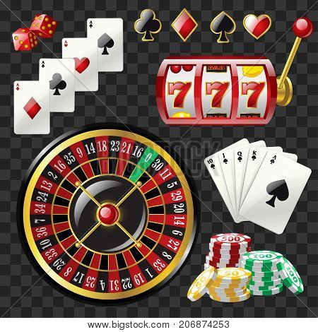 Set of casino objects - modern vector realistic isolated clip art on transparent background. Game cards, 777 slot, roulette, suits, dices, poker chips, black royal straight flush. Gambling concept