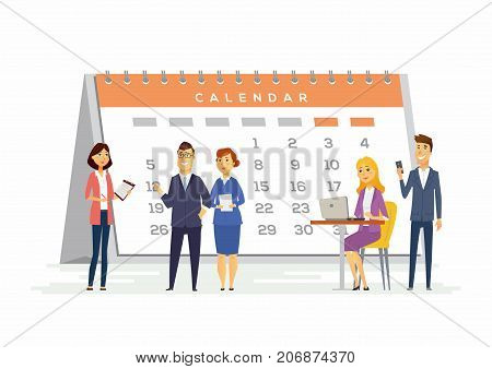 Time management in a company - modern cartoon people characters illustration with smiling people sitting and standing with a big calendar behind. Creative concept of team building, deadline, due date