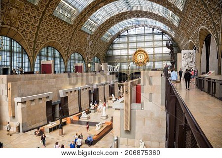 PARIS, FRANCE - AUGUST 1, 2017 : Interior of the the Musee d'Orsay in Paris, known for its collection of impressionist masterpieces