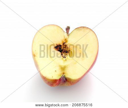 Worm Larvaes In Apple Isolated On White