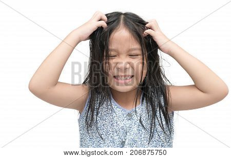 Girl Itchy His Hair On Isolated White Background