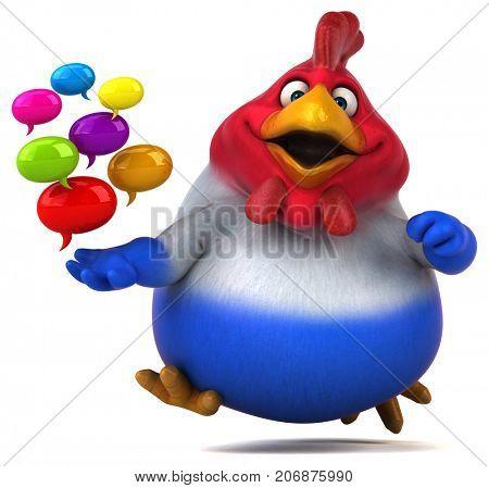 Fun chicken - 3D Illustration