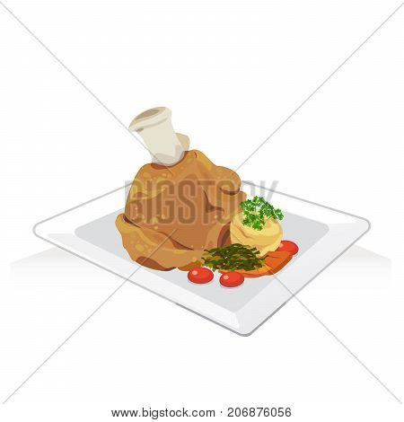 Vector of pork leg fried with mash potato grilled carrots.