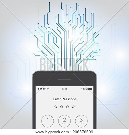 Enter password on Mobile Application Interface Sign in page on smartphone screen. Mobile account. Modern concept for web banners web sites infographics. Creative flat design vector illustration