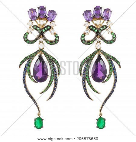 elegant women's gold earrings with precious stones. Jewelry gift.