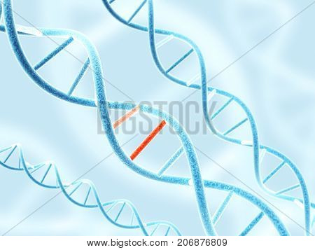 Digital models of DNA structure with problem element on abstract blue background. 3d render