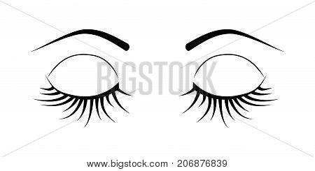 Closed eye with long eyelashes isolated on white background. Stock vector illustration of logo for make-up service beauty salon procedure make up artist.