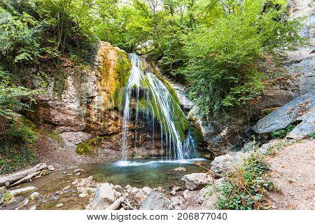 Ulu-uzen River With Djur-djur Waterfall In Crimea