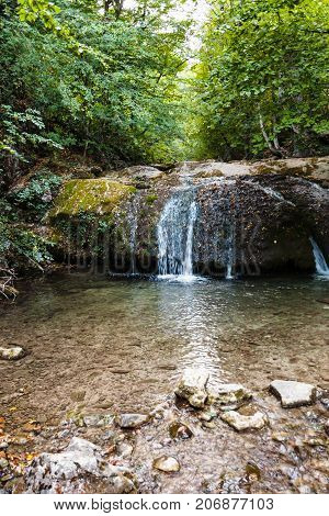 Water Cascade On Ulu-uzen River In Haphal Gorge