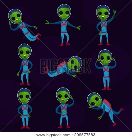 Funny green aliens with big eyes wearing blue space suits set, alien positive characters in different poses cartoon vector Illustrations on a dark blue background