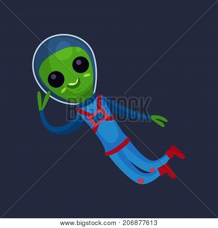 Funny green alien with big eyes wearing blue space suit flying in Space, alien positive character cartoon vector Illustration on a dark blue background